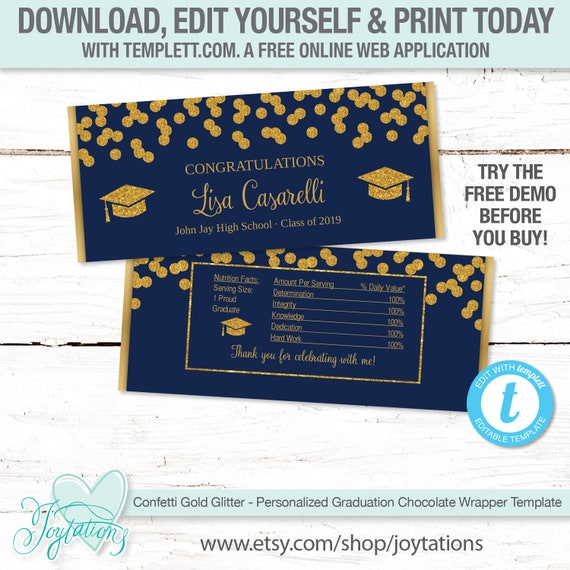 BLUE AND GOLD GRADUATION FAVORS CANDY BAR WRAPPERS HERSHEY BAR WRAPPERS