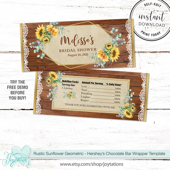 wedding shower CUSTOM design for you fit over chocolate bars YOU PRINT bridal shower Printable Wedding Candy Wrappers