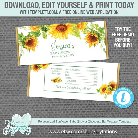 photo relating to Free Printable Baby Shower Candy Bar Wrappers called Editable Sunflower Kid Shower Chocolate Bar Wrapper