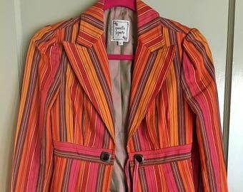 Nanette Lepore Size 2 Women's Jacket Cotton Blend Multicolored Striped