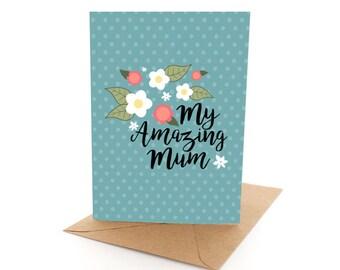 "Mother's Day Card ""Amazing Mum""  -  original Pineapple Moon greeting card"