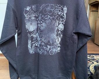 hand stamped sweatshirt