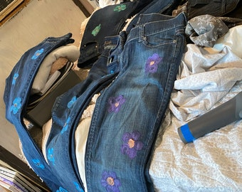 Upcycled hand stamped flower design jeans