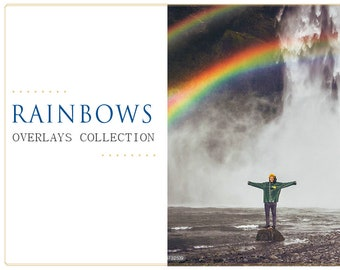 15 Rainbow Photoshop Overlays: Sun Halo After Rain Layers, Rain and Sun Effect, Photography Backdrop for Marketing Board and Mini Sessions