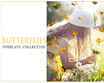 PNG Butterfly Photoshop Overlays: Realistic Natural flying butterflies Photo layer, Fantasy Floral Frame, Professional Photoshop effect