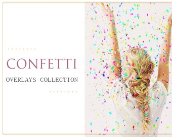 45 Confetti Photoshop Overlays: GOLD Confetti, Glitter Photo layer, Bokeh blow magic Pixie dust effect