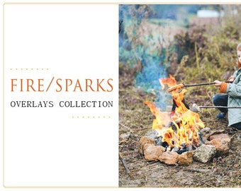 60 Fire and Sparks Photoshop Overlays: Flames Photo layer, campfire, bonfire backgrounds, sparklers, spangles effect, Birthday mini Sessions