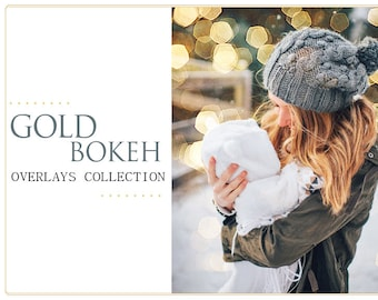 65 Gold Bokeh Photoshop Overlays: Photo editing Christmas Tree Twinkle Lights Effect, Golden Garland Sparkles layer, wedding, mini sessions
