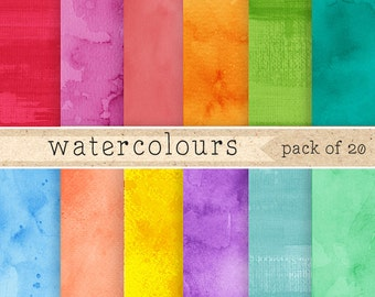 Watercolor Digital Paper: watercolour paper textures, rainbow colored digital papers for scrapbooking, cards, logos and clip art