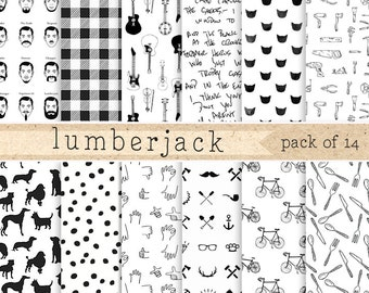 Lumberjack digital paper:  Black and white beards, bikes, guitars, tools, cats, dogs for giftwrapping scrapbooking, invites, cards