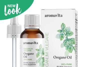 Aromavita Essential Oil of Oregano - Pure Undiluted, Non GMO, Extra Strength  Greek Oregano Oil - Over 86% Carvacrol Oregano Extract