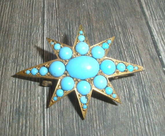 Antique Victorian Star Brooch, Faux Turquoise Broo