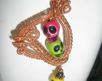 Day of the dead pendant / Steampunk necklace / Copper wirework jewellery / skull / Free UK Shipping