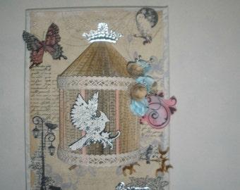 Shabby chic wall art canvas, a little birdhouse
