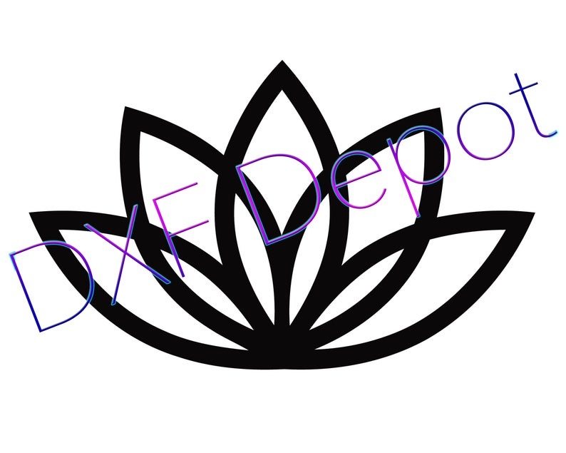 Lotus Flower Dxf Format Cnc Cutting File Vector Art Dxf Etsy