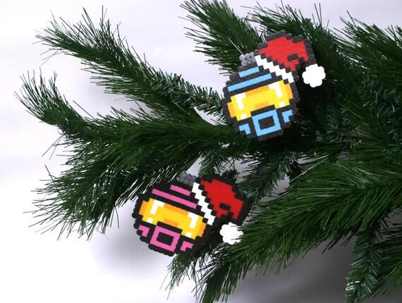 Halo Santa Hat Christmas Ornament Set of 3 Perler | Etsy