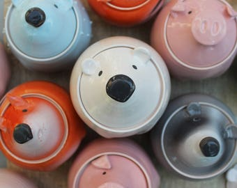 Polar Bear Food Storage Ceramic Honey Pot Pottery Sugar Bowl Handmade Cookie Jar With Lid White Bear Wood Teddy Bear, Kitchen Storage Gift