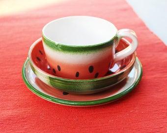 Watermelon Dinnerware Set Ceramic Mug and Bowl Vegetarian Tea Cup and Plate Stoneware Pottery Go Vegan
