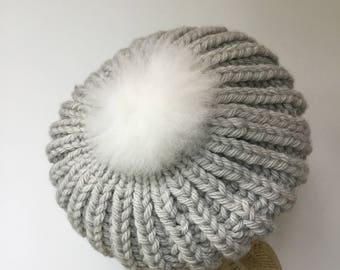 Hand Knit, Adult Slouch Beret Bobble Hat