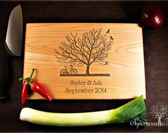 Tree and bike - Personalised Wooden Chopping / Cutting Board Engraved