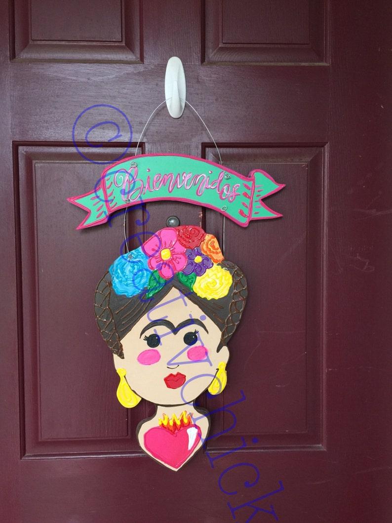 Frida Wall Hang Frida Kahlo Wreath-Frida Door Hanger Frida Kahlo Decor Kitsch Art Mexican Folk Art-Mexican Kitsch Frida Wall Door Sign