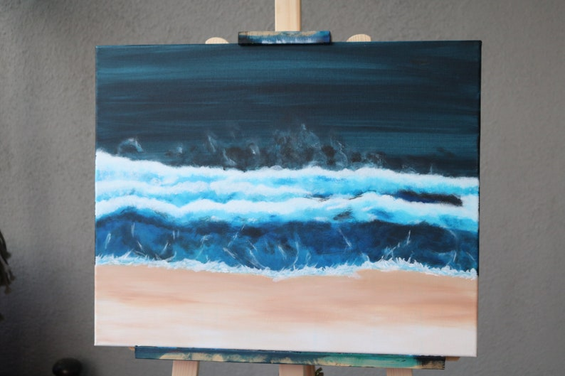 Rolling Waves 18x20 Inch acrylic painting on stretched canvas. image 0