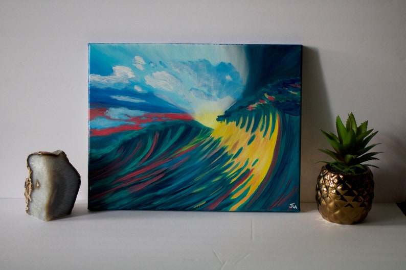 Ocean Painting Sunset Waves  11X14 Original image 0