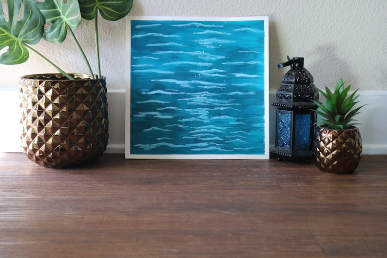 Water Ripples Painting Print on Canvas Paper 12X12 Inches image 0