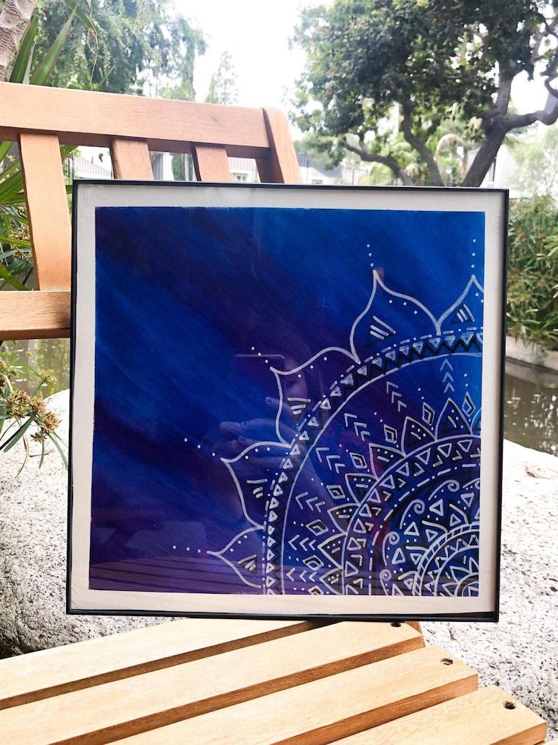 Mandala Painting Print Blue Dream Mandala 12x12 image 0