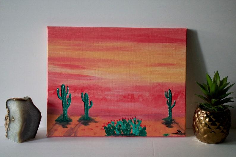 Modern Desert Art Painting Pink Haze  11x14 image 0