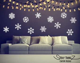 Snowflake Decals, Snowflake Wall Decals, Christmas Wall Decal, Christmas Decor, Home Decor, Winter Decor, Winter Wall Decal, Snowflakes