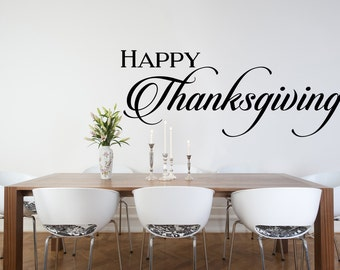 Happy Thanksgiving Wall Decal, Thanksgiving, Wall Decal, Thankful, Home Decor, Party Decorations, Thanksgiving Decal, Give Thanks