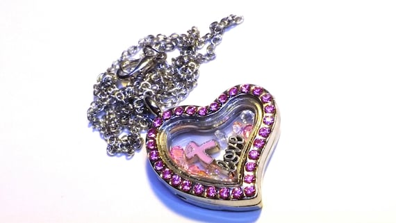 Daughter Pink Ribbon Breast Cancer Awareness Floating Charms /& Glass Locket