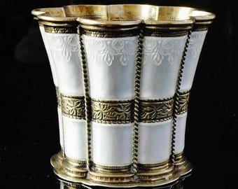 Silver Enamel Cup, Sterling, Danish, Fluted, Drinks, Vintage, Queen Margrethe, Anton Michelsen, Hallmarked Copenhagen, REF:61K