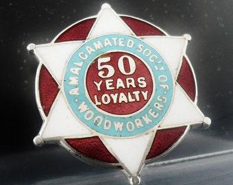 Sterling Silver Enamel Badge, Amalgamated Society of Woodworkers 50 Years Loyalty, Hallmarked Birmingham 1920, English, REF:395S
