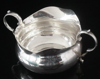 Silver Sauce Boat, Sterling, Antique, English, Double Lipped, Gravy, Cream, Tableware, Hallmarked Chester 1901, Stokes & Ireland, REF:370P