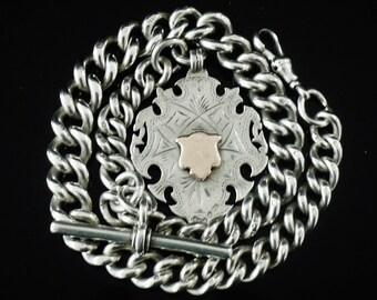 Silver Albert Pocket Watch Chain, T-Bar & Fob, Sterling, English, Heavy, Antique, Victorian, Hallmarked Birmingham 1898, REF:3820H