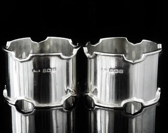 Pair Sterling Silver Napkin Rings, Serviette, Tableware, English, Docker & Burn Ltd, Hallmarked Birmingham 1929, REF:397D