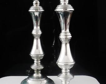 9493ce9574d Pair Silver Candlesticks, Sterling, Candleholder, Two, Vintage, English,  LARGE, Hallmarked Birmingham 1981, W I Broadway & Co, REF:428T