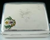 Silver Cigarette Case, Sterling, Enamel, Antique, English, Rare, Cameronians, (Scottish Rifles), Hallmarked Birmingham 1915, REF 477E