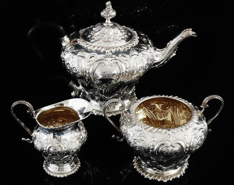 Engels Antiek Zilver.Antieke Zilveren Thee Set Engels Servies Theepot Suikerpot Etsy