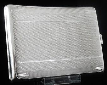 Silver Cigarette Case, Sterling, ART DECO, English, Vintage, Smokers, Tobacco, Smoking, James Carr, Hallmarked Birmingham 1931, REF:401F