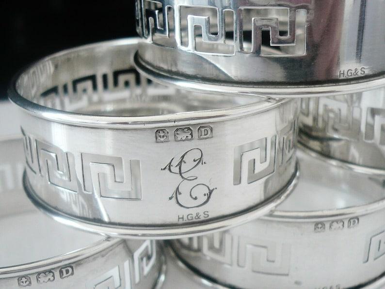 Silver Napkin Rings, Sterling, Set 6, Serviette, GREEK KEY Pattern, English, Henry Griffith - Sons Ltd, Hallmarked Birmingham 1928, REF:519T