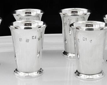 Immaculate Set of 6 Sterling Silver Beakers, Hallmarked Birmingham 1971, English, Cups, Drinking, Vintage, Barker Ellis Silver Co, REF:362B