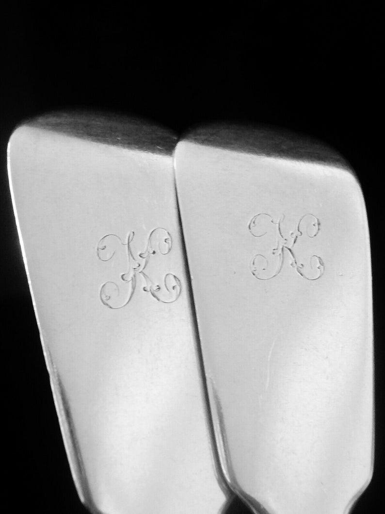 Silver Serving Spoons, Sterling, Paire, Antique, Écossais, Couteils, Vaisselle, William Marshall, Hallmarked EDINBURGH 1857, REF:503D