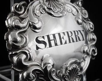 Silver Decanter Label, SHERRY, Sterling, Bottle Ticket, Antique, Scottish, Robb & Whittet, Hallmarked Edinburgh c.1830's, REF:389S