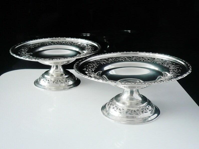 Sterling Silver Comports, Paire, Openwork, Dish, Anglais, vintage, Tableware, Robert Stewart de Glasgow, Hallmarked Sheffield 1933, REF:503M