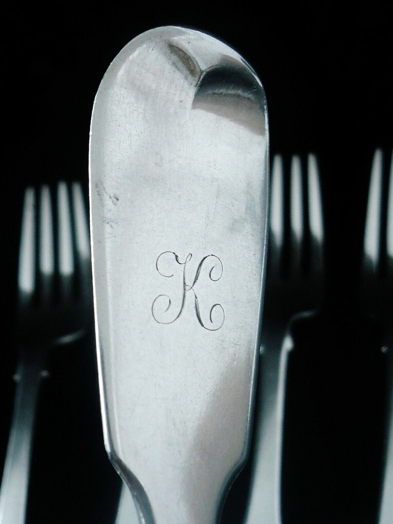 6 Silver Dinner Forks, Sterling, Table, Antique, Cutlery, Table, Scottish, Hallmarked EDINBURGH 1858, William Marshall, REF:503B