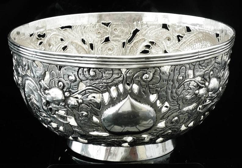 Responsible Antique Unique Chinese Export Sterling Silver Bowl Dragon Wang Hing Hong Kong 19 Non-u.s. Silver