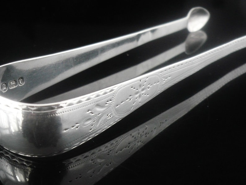 Antique Tableware George Wintle Hallmarked London 1794 Silver Sugar Tongs Nips REF:435K Sterling English